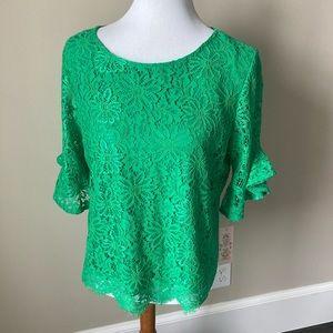 NWT gorgeous Nanette Lepore green lace blouse
